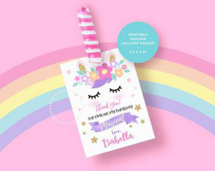 Unicorn Lollipop Holder Favor
