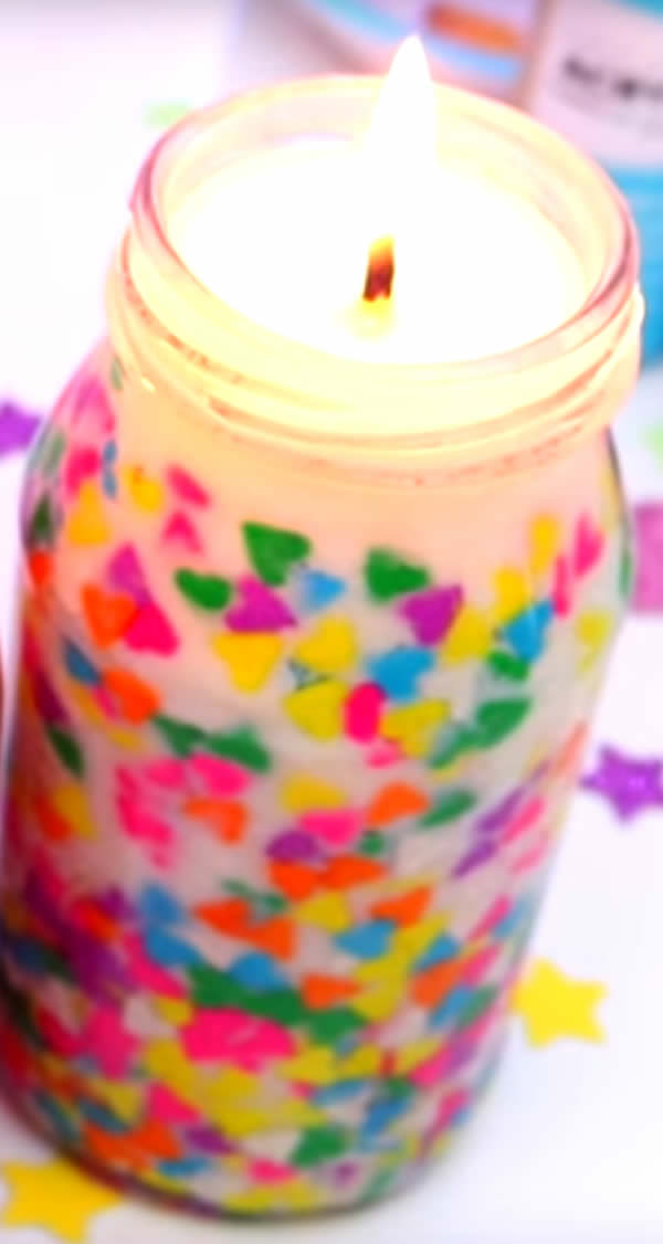 DIY Confetti Candles - Beautiful Homemade Jar Candles - Funfetti Candles Made With Candy Sprinkles - Birthday - Valentines - Gifts