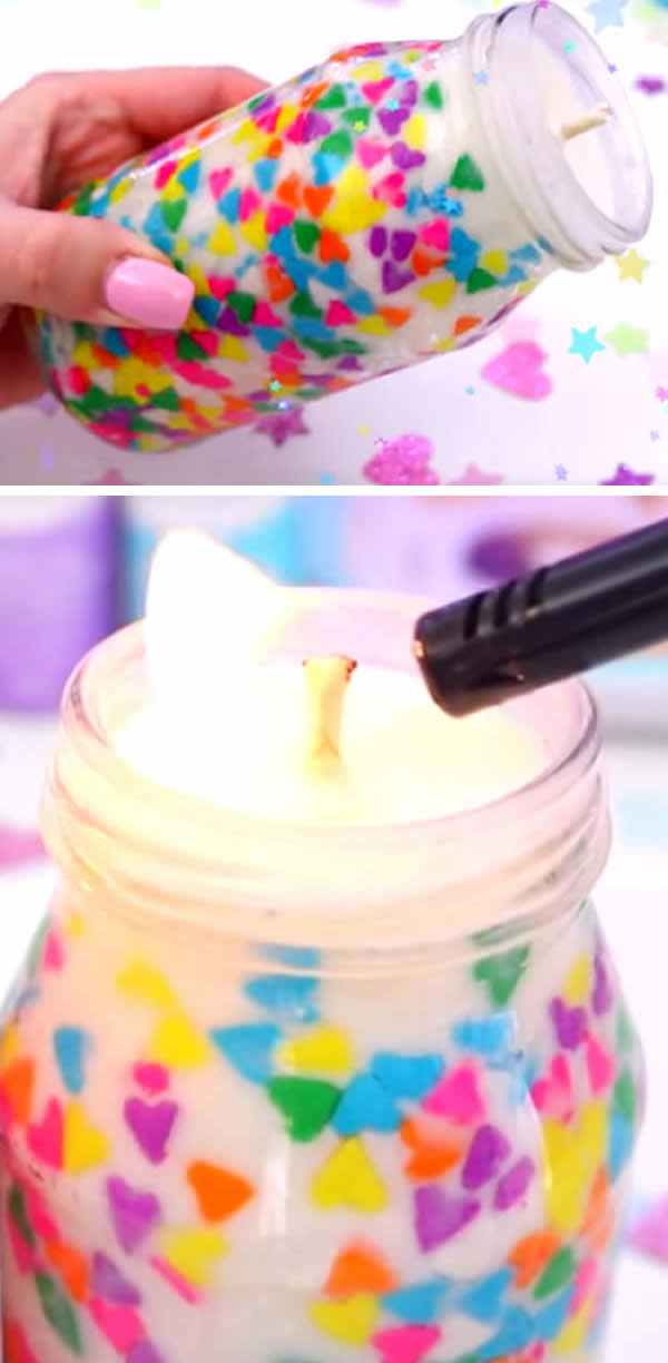 DIY Confetti Candles_Beautiful Homemade Jar Candles_Funfetti Candles Made With Candy Sprinkles_Birthday_Valentines_Gifts