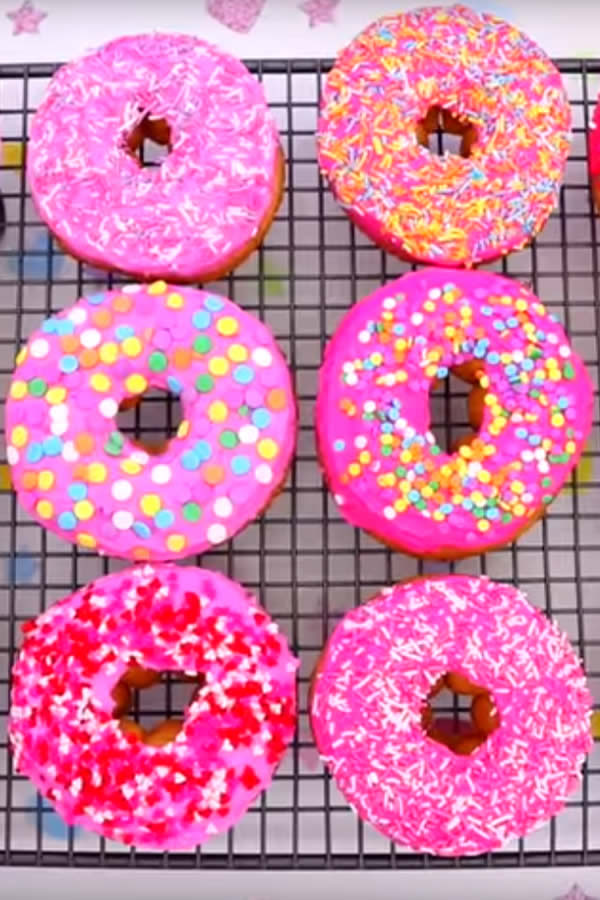 EASY Colorful Glazed Donuts - Pink Party Donuts - Fun Donut Ideas - Valentines Treats - Birthday Parties - Kids Desserts