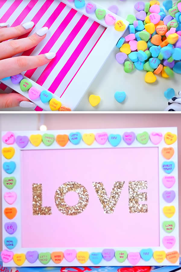 EASY Valentines Crafts For Kids - DIY Candy Heart Craft - How To Make Handmade Gifts or Crafts - Art Project