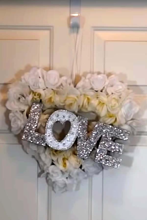 diy dollar store love wreath-
