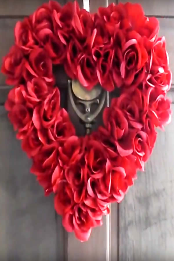 diy dollar store rose heart wreath-