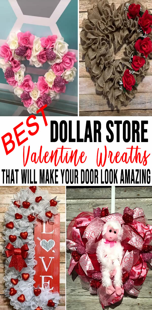 BEST Dollar Store Valentine Wreath! DIY Valentine Day Wreath Ideas – Learn How To Make Wreaths To Make Your Front Door Look Amazing – Dollar Store Hacks – Homemade Valentine Decor