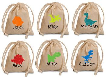 Personalized Dinosaur Favor Bags