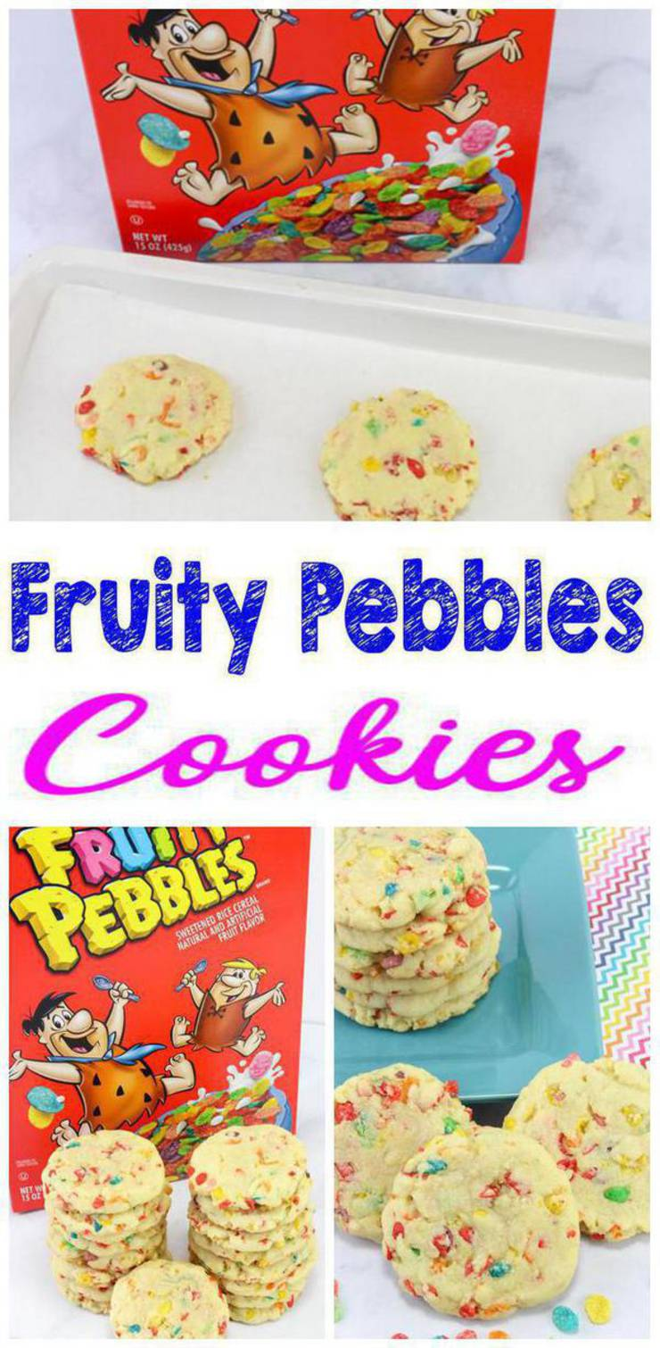 Kids Party Food! Easy Fruity Pebble cereal cookies boys and girls will love. Simple cookies for any theme party or slumber party / sleepover celebration or even pool parties. Funfetti cookies children will love. Set on snack table or dessert table for cute decor or send home as party favors children will love. Grab this easy recipe now for the BEST & coolest cookie party food :) #cookies