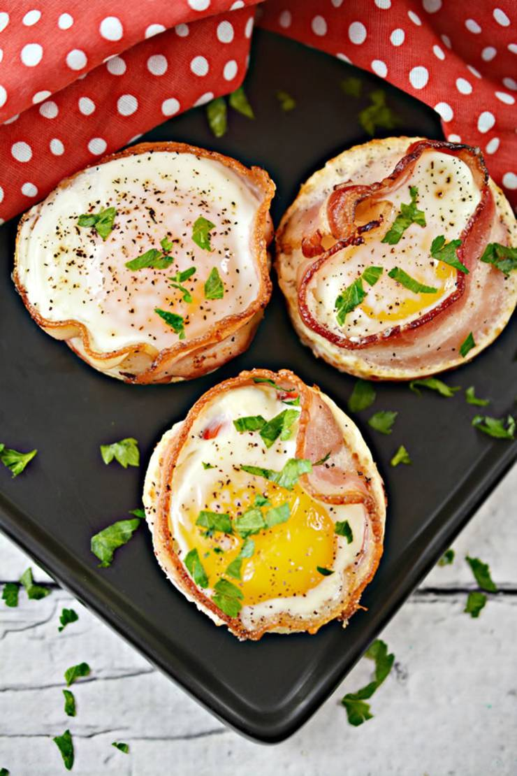Keto Bacon and Egg Cups - Low Carb Egg Wrap Muffins With Sausage - Keto Breakfast Bites Recipe {Easy}