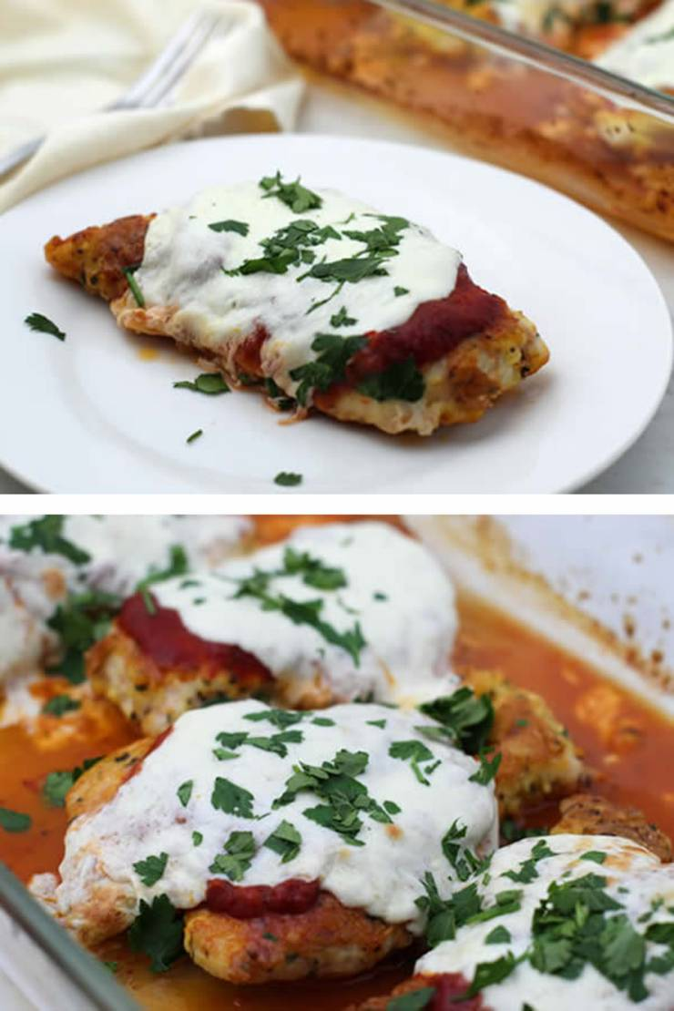 Keto Chicken Parmesan! BEST Low Carb Chicken Recipe - Baked - No Breading - Gluten Free EASY Keto Friendly Idea