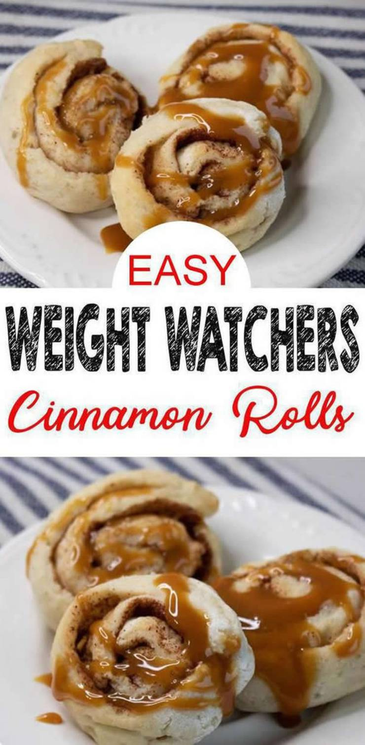 Ooey Gooey Weight Watchers Cinnamon Rolls! These are the BEST cinnamon rolls for a Weight Watchers diet! They are AMAZING! EASY Weight Watchers Cinnamon Rolls Recipe - Made with caramel sauce icing / frosting. To me they are almost a copy cat Weight Watchers Cinnabon cinnamon roll! Try these Weight Watchers breakfast recipe with #smartpoints. #weightwatchers