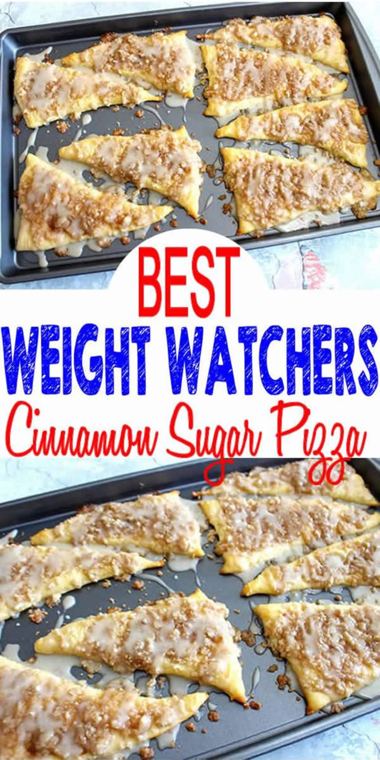 Tasty Weight Watchers Cinnamon Sugar Pizza you CAN NOT stop eating! This Weight Watchers recipe is easy to make and super yummy. Simple WW recipe for the BEST breakfast, treat, snack or dessert. Weight Watchers diet cinnamon sugar pizza that is a heavenly moist and delicious.  Here is a quick and easy homemade cinnamon sugar Weight Watchers recipe. Check out this simple Weight Watchers recipe for the BEST cinnamon sugar pizza. #weightwatchers #smartpoints