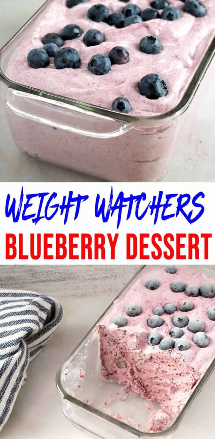 Weight Watchers Dessert! No NEED to spend hours baking a Weight Watchers dessert recipe when you can make this delicious & easy blueberry fluffy! Blueberry dessert Weight Watchers idea! Check out this NO BAKE frozen blueberry Weight Watchers dessert. Great snack, treat, or dessert. Great for parties (football, Valentines, birthday, bridal shower & more) #weightwatchers #smartpoints #weightwatchersdesserts