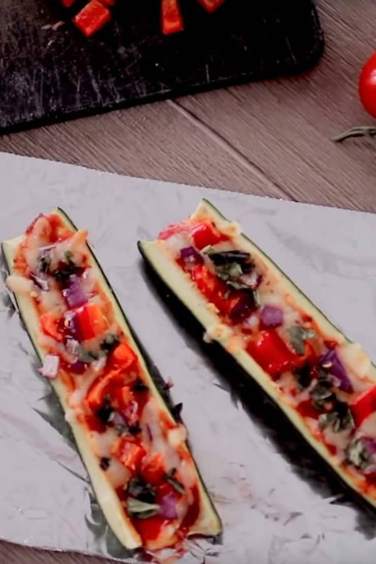 Keto Zucchini Pizza Boats - Low Carb Zucchini Pizza Boats - Keto Stuffed Zucchini Recipe {Easy}