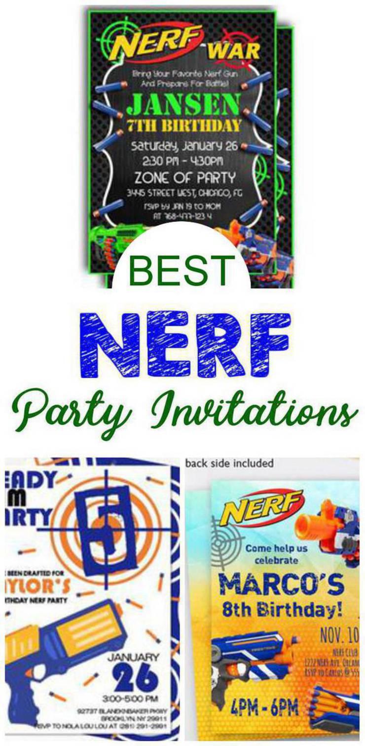 Nerf Party Invitations Best Nerf Gun Birthday Party Invites