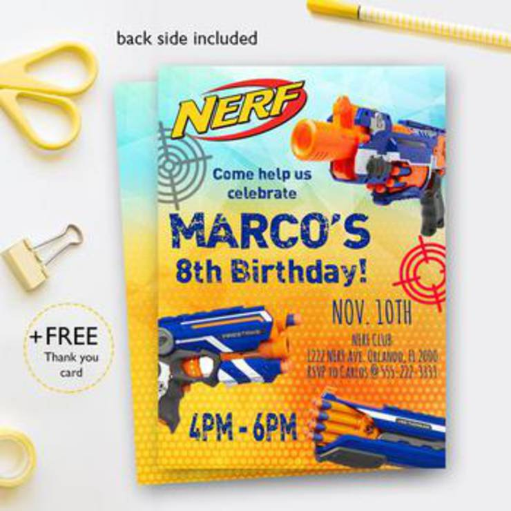graphic relating to Nerf Gun Party Invitations Printable called Nerf Bash Invites Least difficult Nerf Gun Birthday Social gathering Invitations