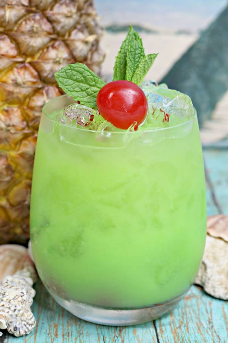 Alcoholic Drinks - BEST Hawaiian Cocktail Recipe - Easy and Simple On The Rocks Green Iguana