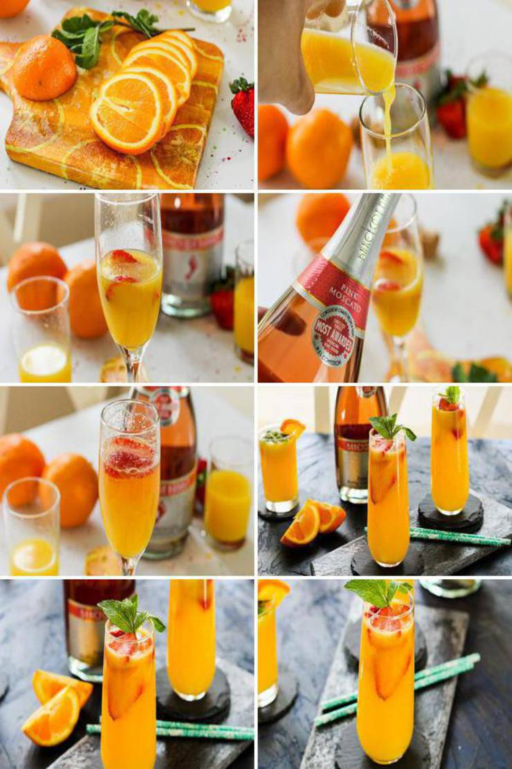 Alcoholic Drinks - BEST Mimosa Recipe - Easy and Simple Strawberry Orange Champagne Mimosa Cocktail Idea! Great for parties - birthday, BBQ, bachelorette parties, girls night, girly weekend, Pool parties & more. Try this favorite champagne wine alcohol recipe today!