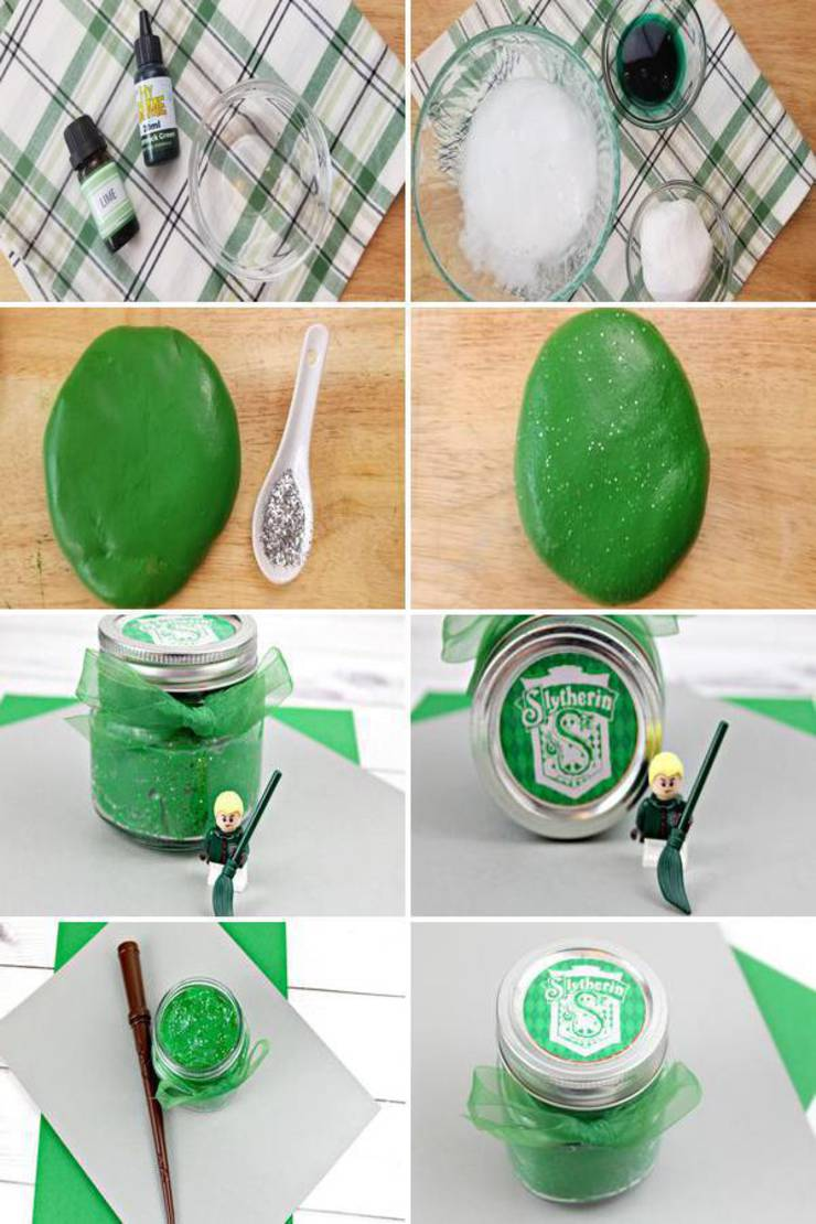 Learn how to make slime that kids will love. A great recipe for slime play, sensory play or even to use as party favors (just store in slime jars and add a cute free printable). You are going to love this Slytherin Harry Potter slime that makes a great slime that is stretchy and cool. This is the perfect Harry Potter slime idea you can make for yourself, give as a gift. Let's make the BEST squishy, stretchy and simple DIY Slytherin  Harry Potter slime.