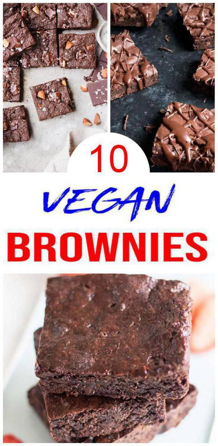 10 Vegan Brownies – BEST Vegan Chocolate Brownie Recipes – Easy – Healthy – Vegan Ideas – Dessert - Snack – Parties