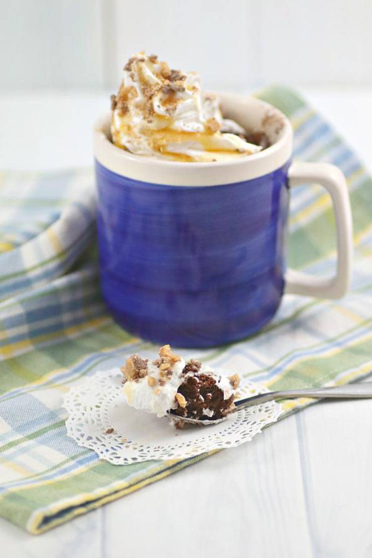 Microwave Mug Cake Recipe - Easy Microwave Chocolate Heath Bar Mug Cake For One - Simple Baking