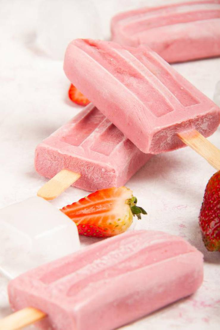 3 Ingredient Keto Strawberry Creamsicle Popsicles – BEST Keto Vegan Strawberries and Cream – {Easy – NO Bake} NO Sugar Low Carb Recipe