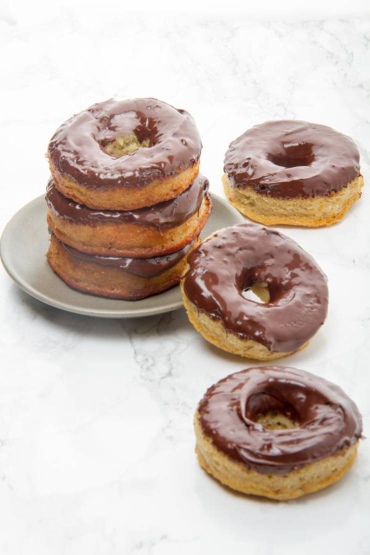 Keto Donuts - Super Yummy Low Carb Chocolate Glaze Donut Recipe - Baked Donuts For Ketogenic Diet