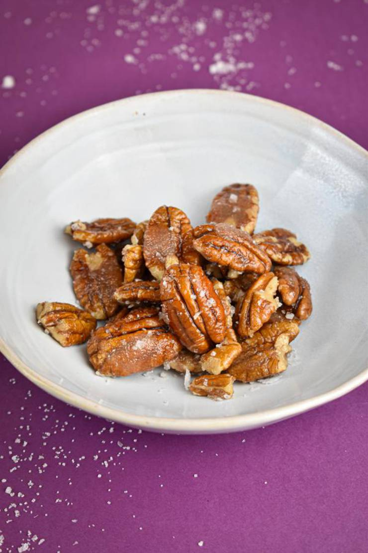 BEST Keto Pecans! Low Carb Keto Salted Caramel Coated Pecans Idea – Sugar Free – 4 Ingredient - Quick & Easy Ketogenic Diet Recipe – Completely Keto Friendly