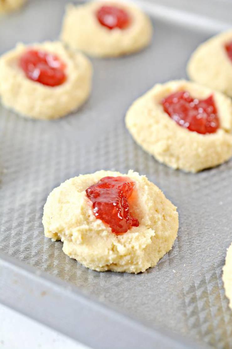 Keto Strawberry Thumbprint Cookies