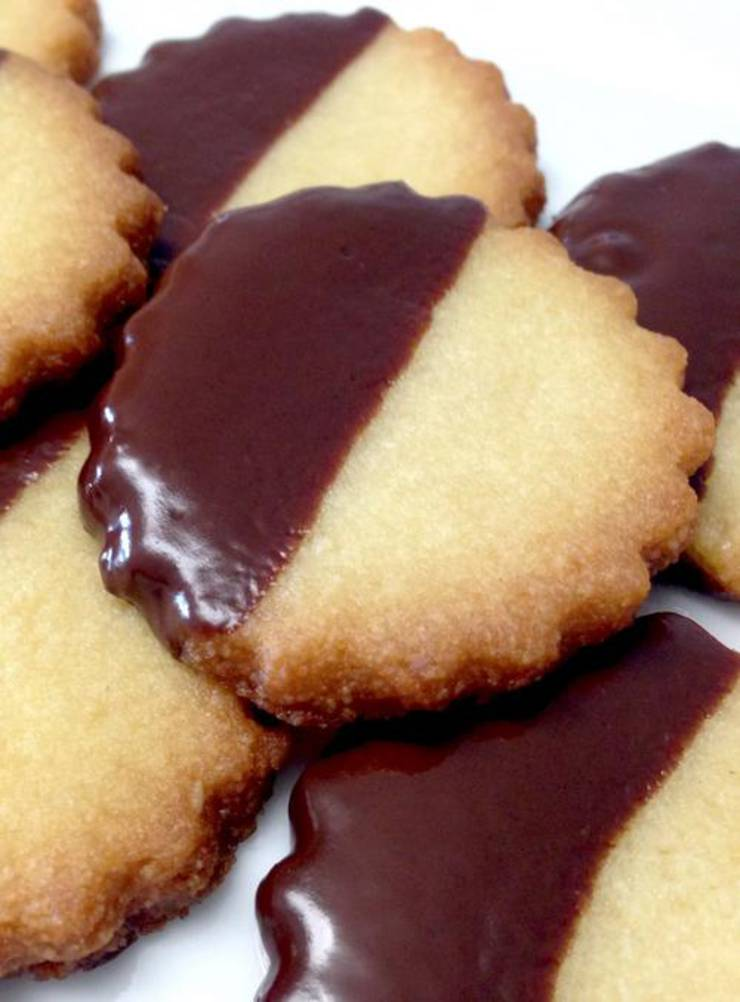 Keto Chocolate Dipped Shortbread Cookies