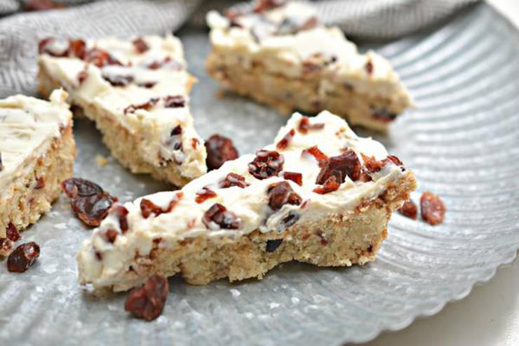 Keto Cranberry Bliss Bars - Super Yummy Low Carb Copycat Starbucks Cranberry Bliss Bar Recipe - Cranberry White Chocolate For Ketogenic Diet