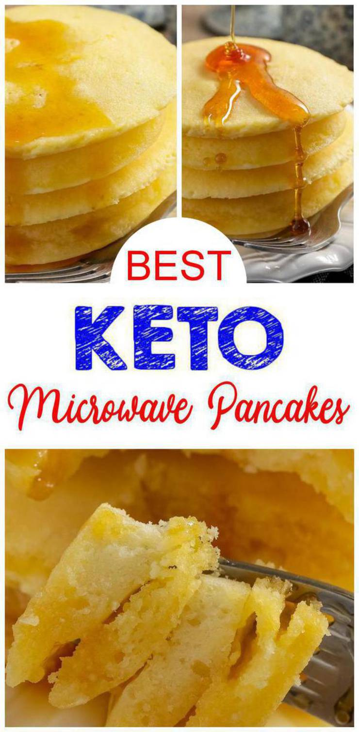 BEST Keto Pancakes – Low Carb Keto Pancakes Recipe – 90 Second Microwave Bread For Easy Ketogenic Diet Pancakes