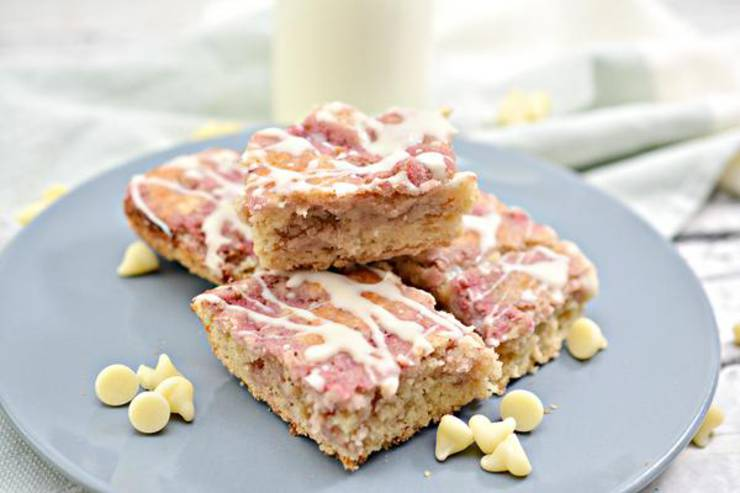 BEST Keto Cookie Bars! Low Carb White Chocolate Strawberry Swirl Cake Mix Cookie Bar Idea – Quick & Easy Ketogenic Diet Recipe – Keto Friendly & Beginner – Desserts – Snacks