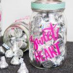 Cricut Crafts - BEST Valentine Cricut Craft Project You Will Love - Easy Candy Mason Jar DIY Cricut Idea With FREE SVG File