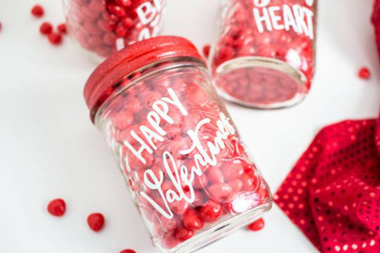 Cricut Crafts - BEST Valentine Cricut Craft Project You Will Love - Easy Mason Jar Candy DIY Cricut Idea With FREE SVG File
