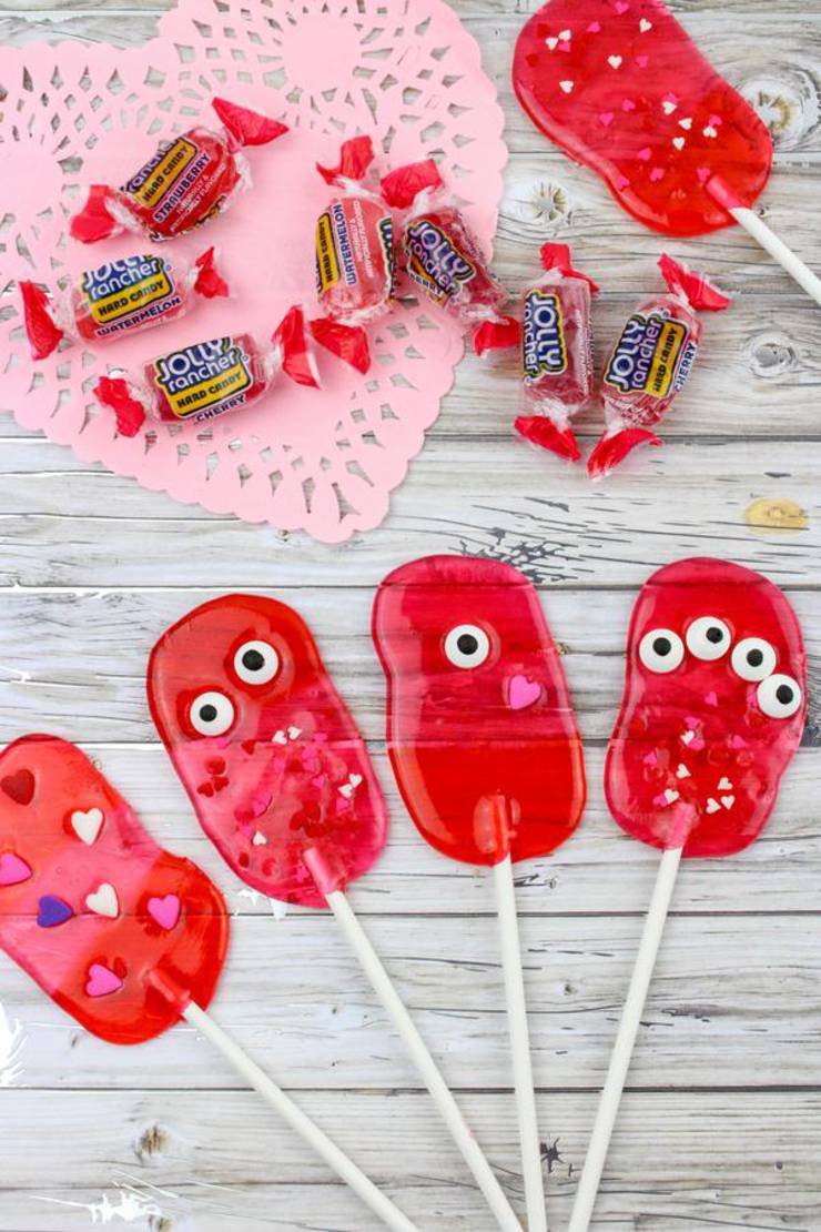 Valentines Treats! BEST Valentines Monster Lollipops Recipe – Easy Candy Suckers – Cheap Ideas – Simple Desserts – Snacks – Kids Parties – Valentine Party Food