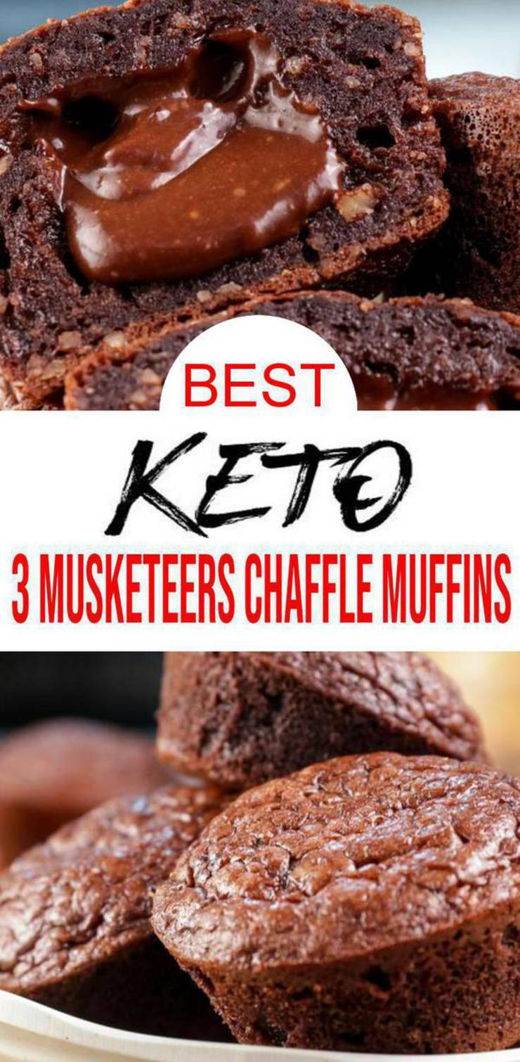 Keto 3 Musketeers Chaffle {EASY} keto recipe for the BEST low carb chaffle muffins. Low carb 3 Musketeers candy chaffle muffins that are delicious. Chaffle chocolate muffin for ketogenic diet. Simple & quick keto desserts, keto snacks or keto breakfast. Ketogenic diet beginners recipe to fit any keto meal plan. Easy healthy meal everyone will love including kids. Great for Easter brunch or desserts. Check out BEST keto 3 Musketeers chaffle muffin recipe #chocolate #easyrecipe