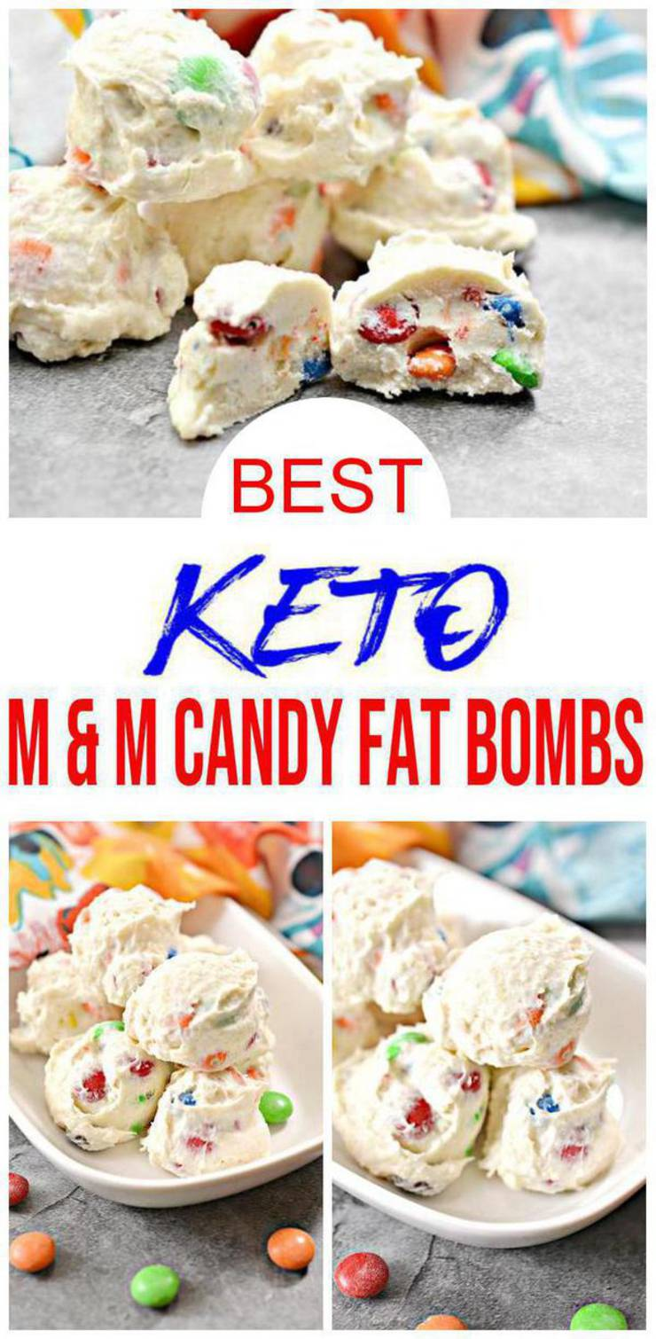 BEST Keto Fat Bombs! Low Carb Keto M & M Candy Fat Bombs Idea – No Bake – Sugar Free – Quick & Easy Ketogenic Diet Cream Cheese Recipe – Keto Friendly & Beginner – Desserts – Snacks
