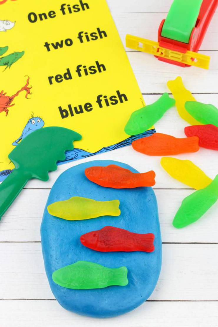 How To Make Edible Playdough - Easy DIY One Fish Two Fish Red Fish Blue Fish Edible Playdough Recipe No Cook - Kids Activities - Party Ideas