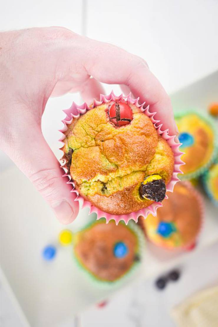 BEST Muffins – Quick Breakfast Ideas For Kids – M & M Candy Funfetti Muffin Bites - Easy & Simple On The Go Morning Breakfast Ideas – Snacks – Desserts – Party Food - Unicorn Parties