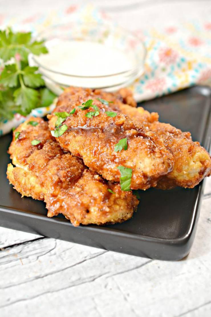 Keto Chicken Tenders – EASY Low Carb Air Fried BBQ Brown Sugar Chicken Strips Recipe – Weight Watchers Diet Air Fryer - BEST Dinner - Lunch - Appetizer Idea