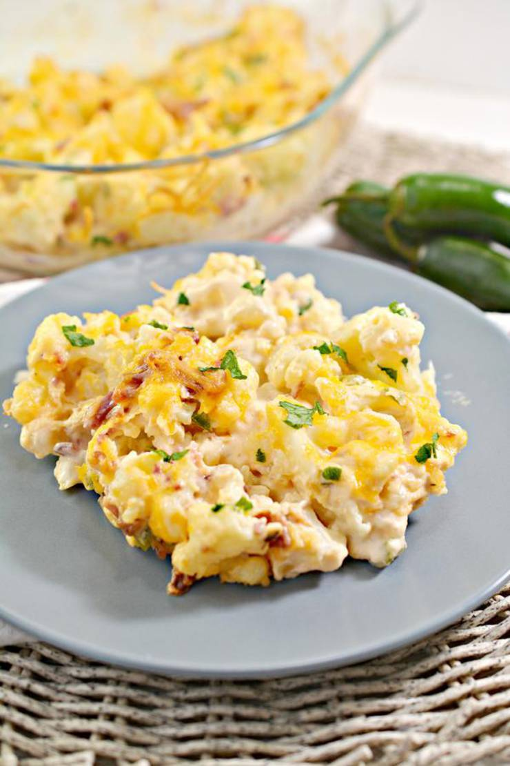 EASY Keto Cauliflower Mac and Cheese! Low Carb Jalapeno Popper Mac & Cheese Idea – Quick – Healthy – Baked Ketogenic Diet Recipe – Completely Keto Friendly