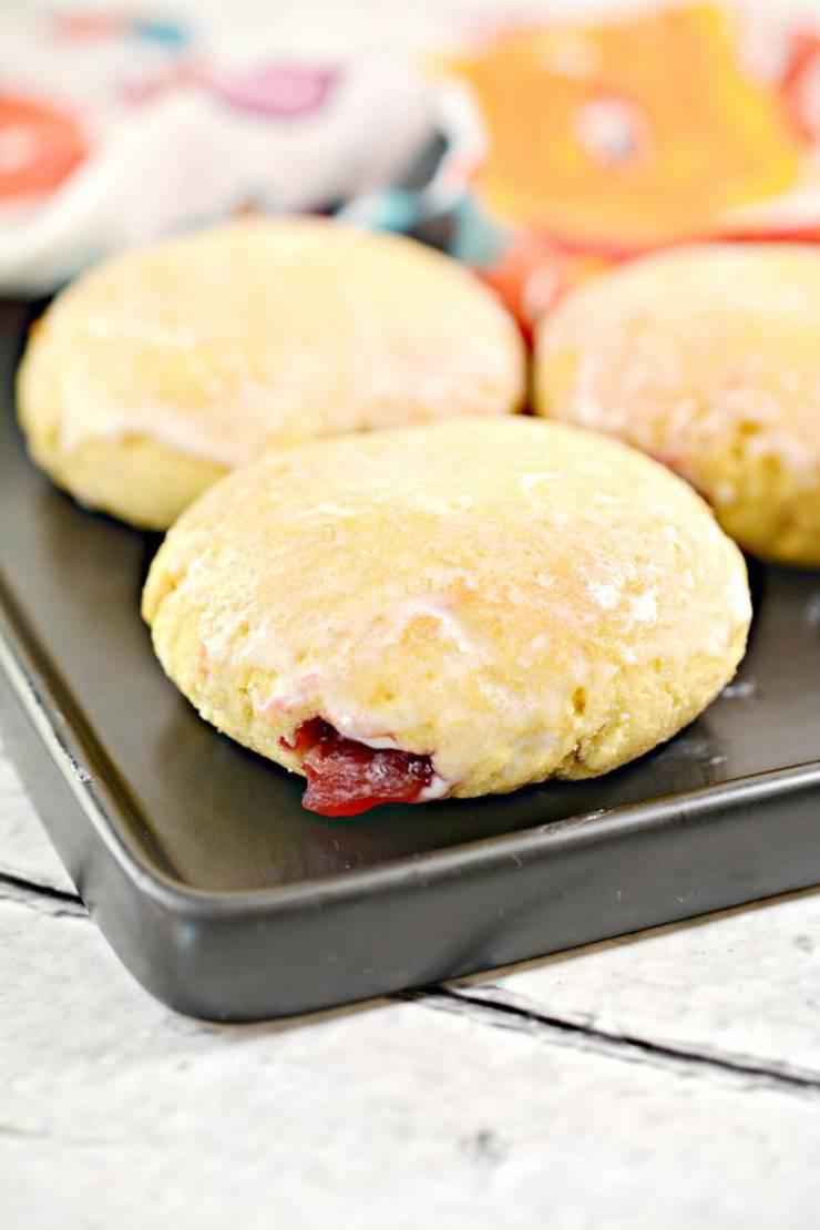 Keto Donuts - Super Yummy Low Carb Copycat Krispy Kreme Donut Recipe Raspberry Jelly Glaze Donuts For Ketogenic Diet