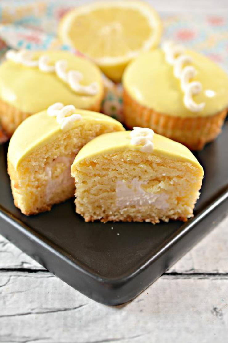 Keto Cupcakes - Super Yummy Low Carb Copycat Hostess Cupcakes Recipe - Lemon Treats For Ketogenic Diet - Desserts - Snacks