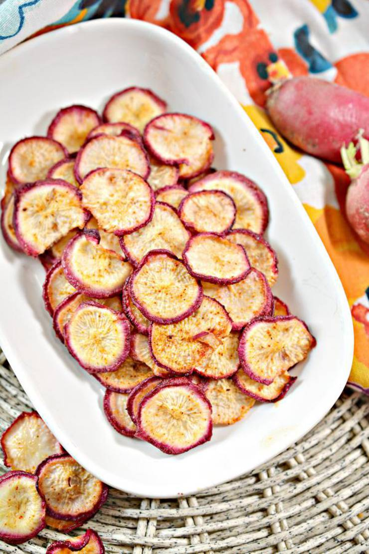 "Keto Chips – BEST Low Carb ""Potato"" Chip Recipe {Easy – Homemade} Radish Chips"