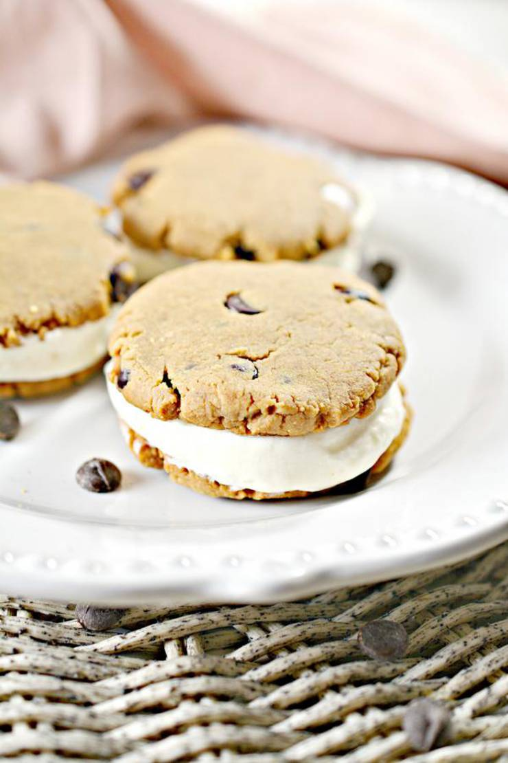 Keto Peanut Butter Cookies – BEST Chocolate Chip Peanut Butter Cookie Ice Cream Sandwich Recipe – {Easy} NO Sugar Low Carb Recipe – Desserts – Snacks