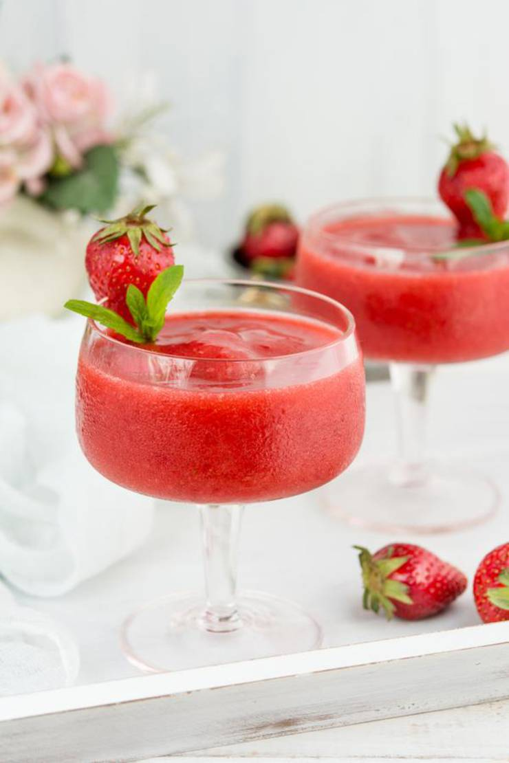 Keto Wine Slushie - BEST Low Carb Strawberry Wine Slushie Recipe - EASY Ketogenic Diet Frozen Alcohol Drink Mix You Will Love