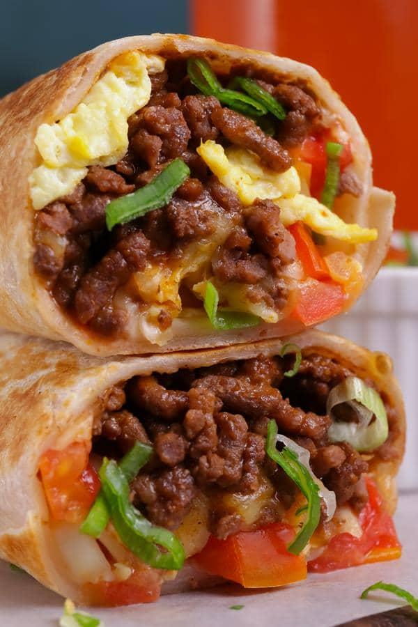 Breakfast Burrito Wraps – Breakfast Burrito Roll Ups – Chorizo - Eggs - Cheese - Breakfast Wraps - Breakfast - Lunch - Dinner