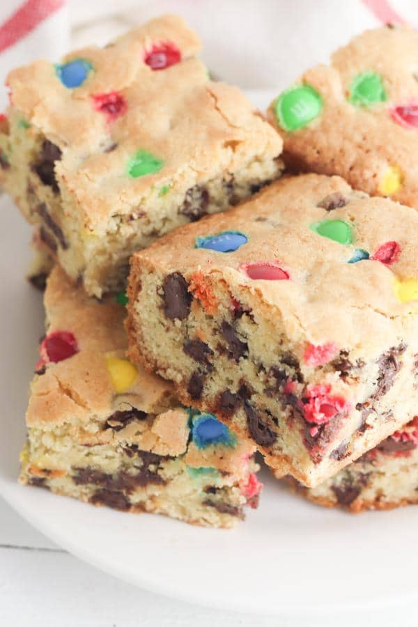 Cookie Bars – EASY – Quick – Simple M & M Candy Chocolate Chip Cookie Bar Recipe – BEST Homemade Quick – Desserts – Snacks – Party Food