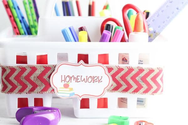 DIY Dollar Store School Organization – Easy DIY Crafts – Simple Homework Station or Homeschool Organization - DIY Projects For School Supplies – Dollar Tree Hacks