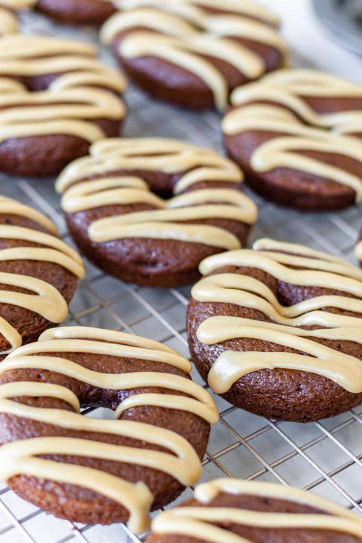 Chocolate Donuts – BEST Cake Mix Peanut Butter Chocolate Donut Recipe – Homemade Easy and Simple Doctored Cake Mix – Breakfast - Snacks – Desserts