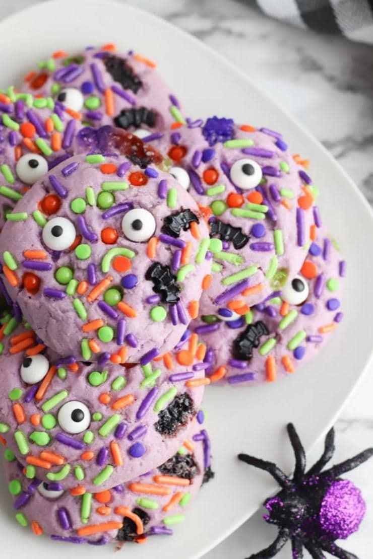 Halloween Monster Cookies – BEST Monster Eye Cookie Recipe – {Easy} Edible Sugar Cookie Monster Eyes – Party Food - Desserts – Snacks